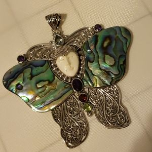 Bali sterling abalone butterfly pendant